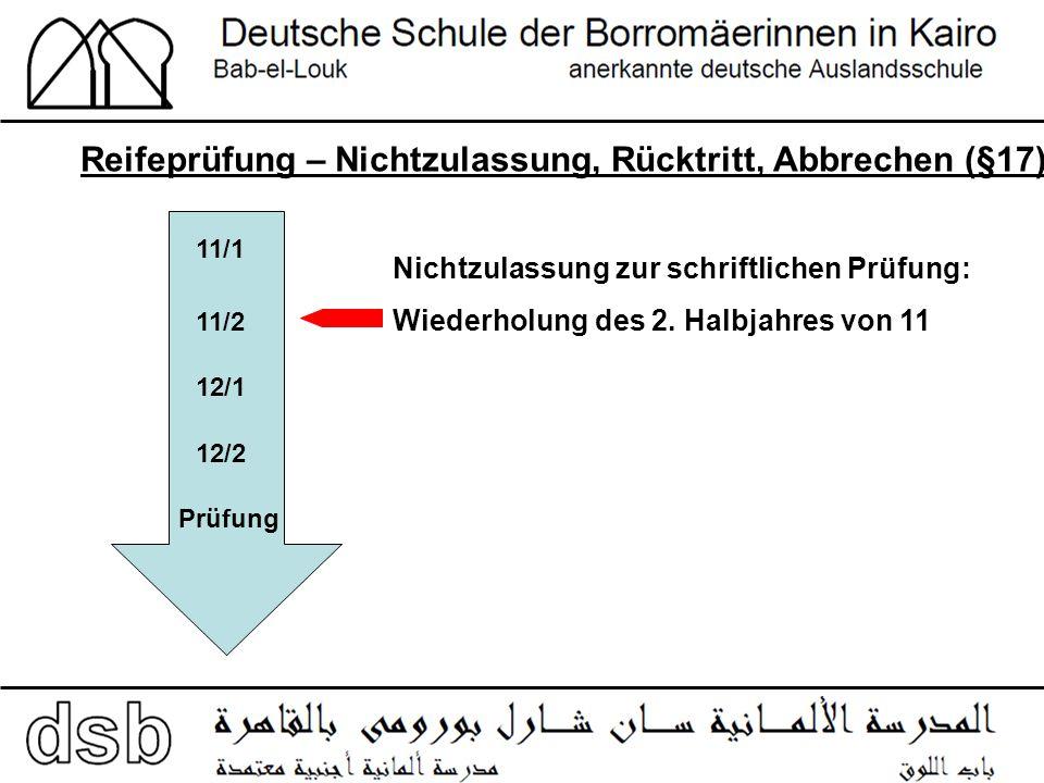 Reifeprüfung – Nichtzulassung, Rücktritt, Abbrechen (§17) 11/1 11/2 12/2 12/1 Prüfung Nichtzulassung zur schriftlichen Prüfung: Wiederholung des 2.