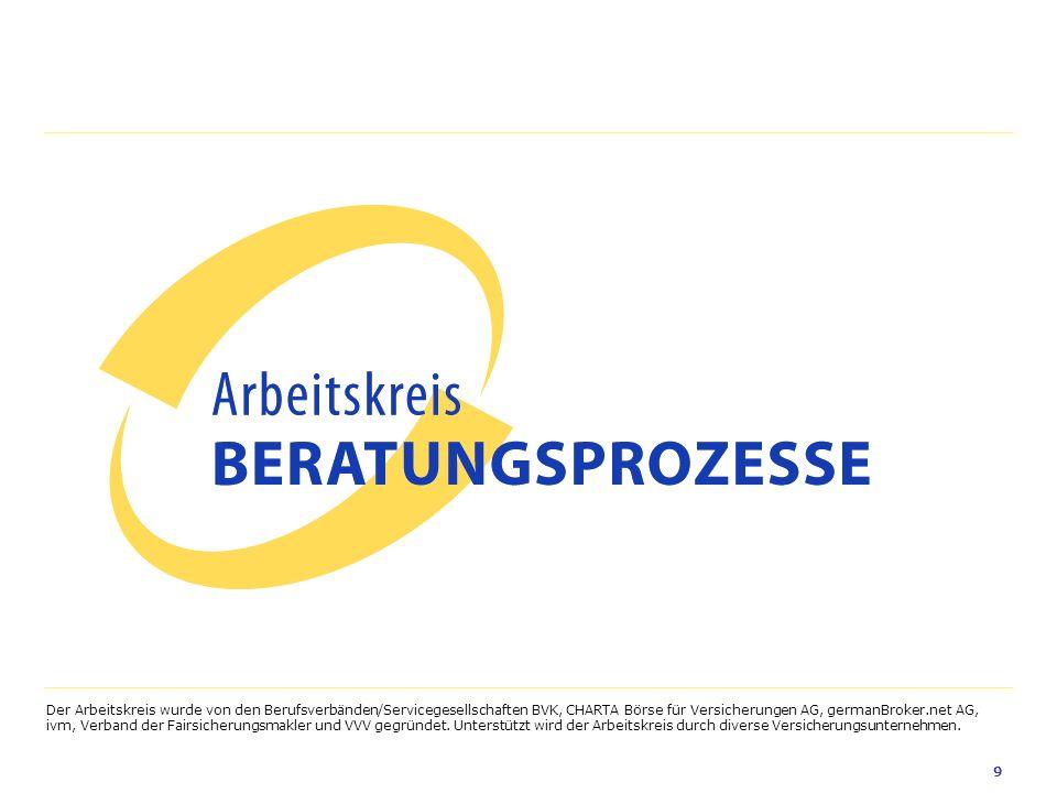 Der Arbeitskreis wurde von den Berufsverbänden/Servicegesellschaften BVK, CHARTA Börse für Versicherungen AG, germanBroker.net AG, ivm, Verband der Fairsicherungsmakler und VVV gegründet.