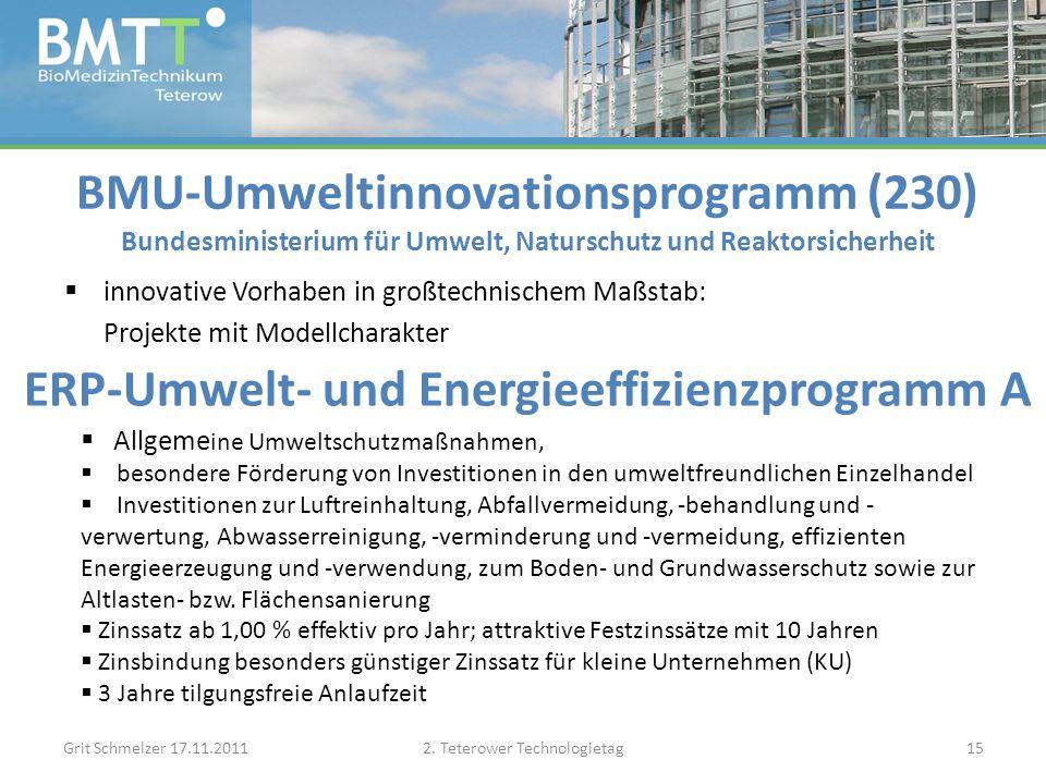 BMU-Umweltinnovationsprogramm (230) Bundesministerium für Umwelt, Naturschutz und Reaktorsicherheit innovative Vorhaben in großtechnischem Maßstab: Projekte mit Modellcharakter Grit Schmelzer 17.11.20112.