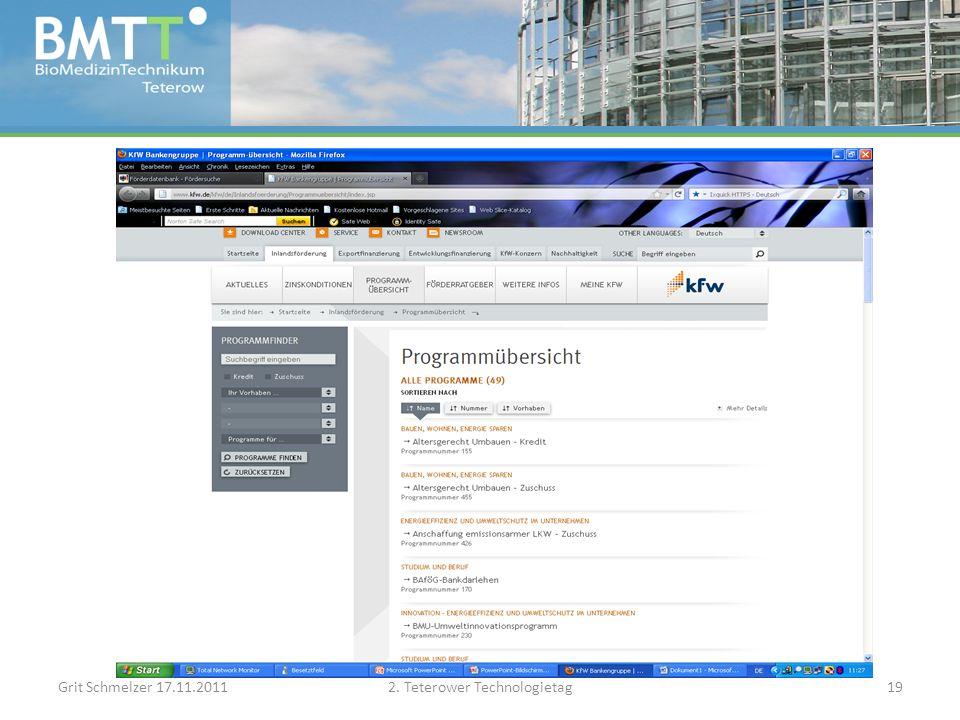 Grit Schmelzer 17.11.20112. Teterower Technologietag19
