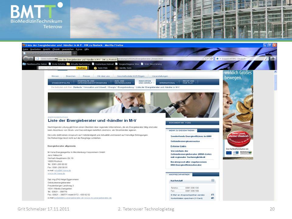 Grit Schmelzer 17.11.20112. Teterower Technologietag20