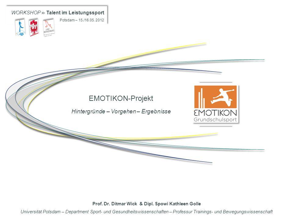 WORKSHOP Talent im Leistungssport Potsdam – 15./16.05. 2012 WORKSHOP Talent im Leistungssport Potsdam – 15./16.05. 2012 EMOTIKON-Projekt Hintergründe