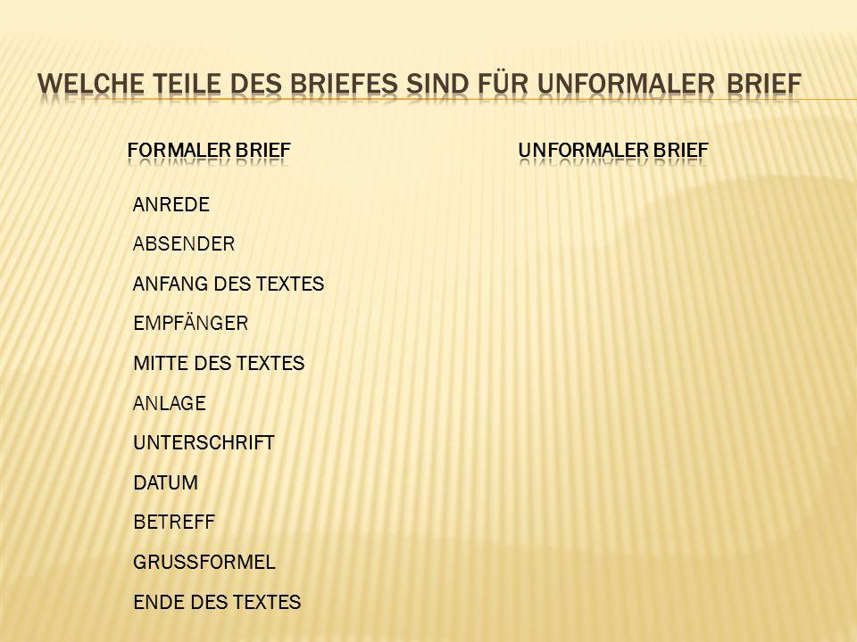ANREDE ABSENDER EMPFÄNGER ANLAGE BETREFF GRUSSFORMEL MITTE DES TEXTES UNTERSCHRIFT DATUM ANFANG DES TEXTES ENDE DES TEXTES