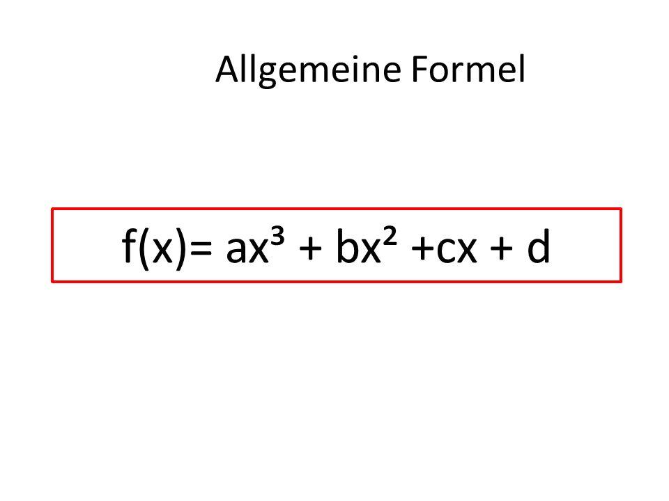 f(x)= ax³ + bx² +cx + d Allgemeine Formel