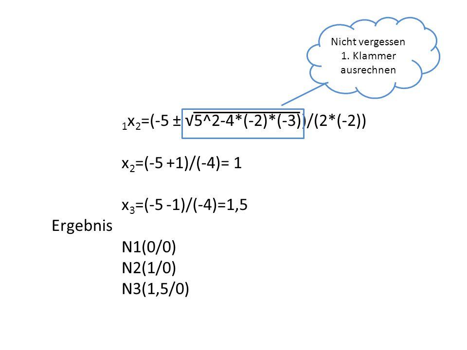 x 2 =(-5 +1)/(-4)= 1 x 3 =(-5 -1)/(-4)=1,5 Ergebnis N1(0/0) N2(1/0) N3(1,5/0) Nicht vergessen 1. Klammer ausrechnen