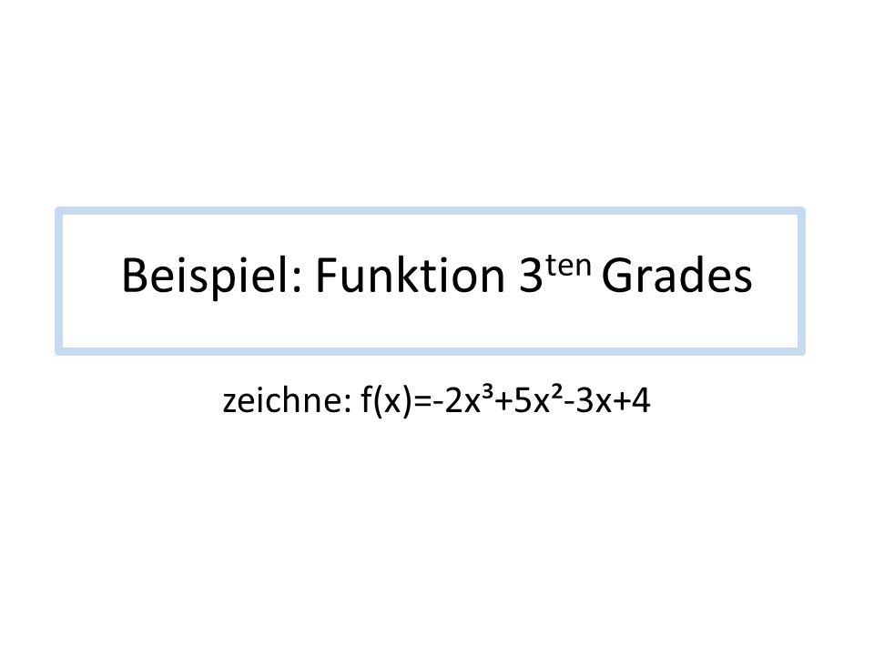 Beispiel: Funktion 3 ten Grades zeichne: f(x)=-2x³+5x²-3x+4