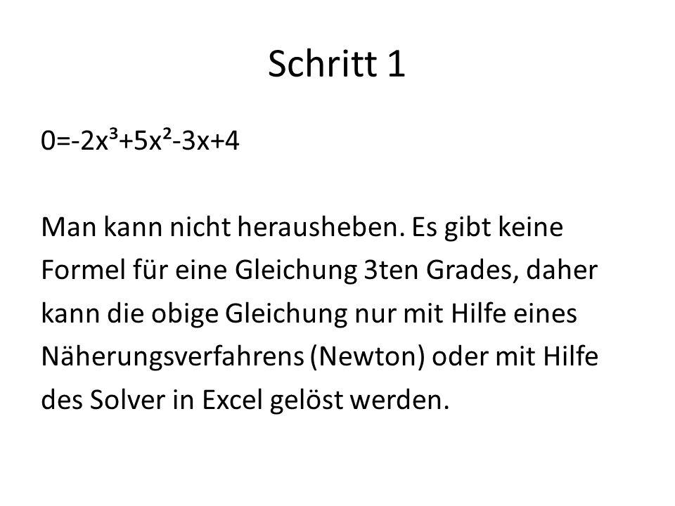 Schritt 1 0=-2x³+5x²-3x+4 Man kann nicht herausheben. Es gibt keine Formel für eine Gleichung 3ten Grades, daher kann die obige Gleichung nur mit Hilf