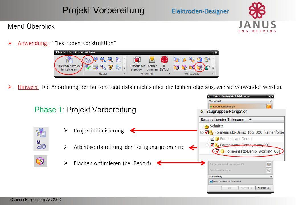 © Janus Engineering AG 2013 Projekt Vorbereitung Elektroden-Designer Projekt Vorbereitung Elektroden-Designer Elektroden Konstruktion Elektroden-Desig