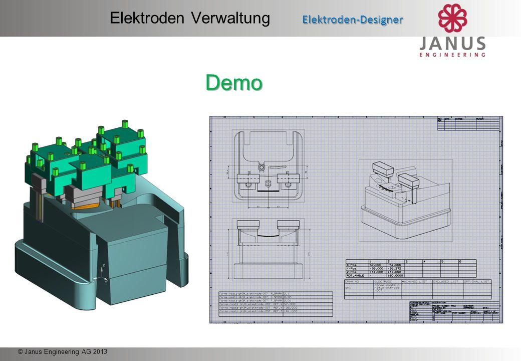 © Janus Engineering AG 2013 Menü Überblick Elektroden-Designer Elektroden Verwaltung Elektroden-Designer Elektrodenhalter konstruieren Elektrodenbefes