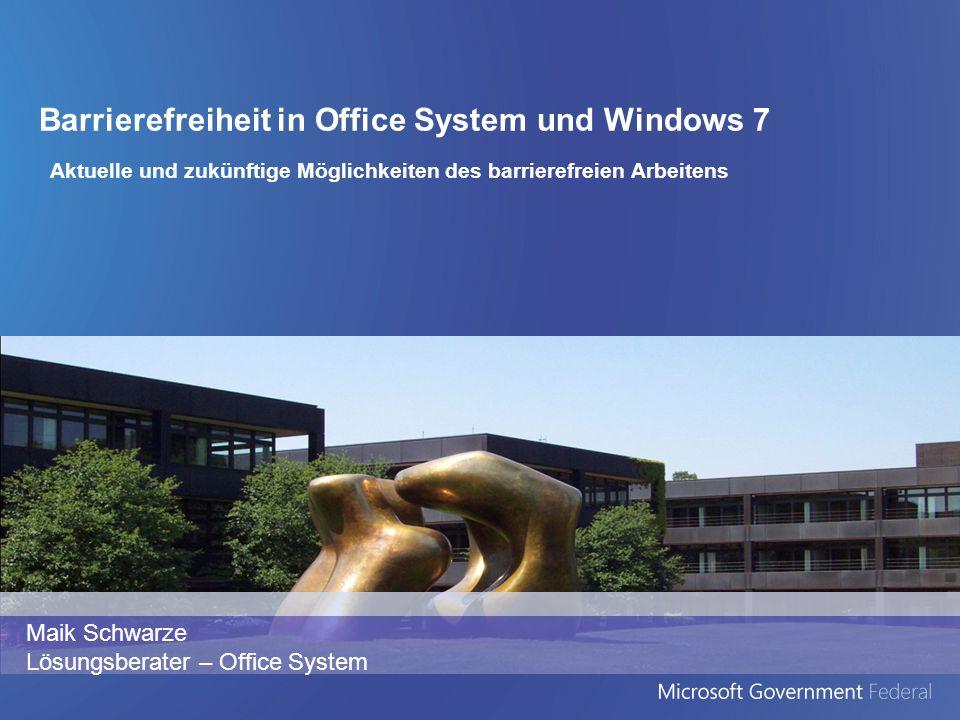 Agenda Barrierefreiheit Überblick Microsoft Barrierefreiheit und externe Trends Barrierefreie Technologien bei Microsoft Windows 7 Office 2010 Sharepoint 2010 Ein Blick in die Zukunft Forschung bei Microsoft
