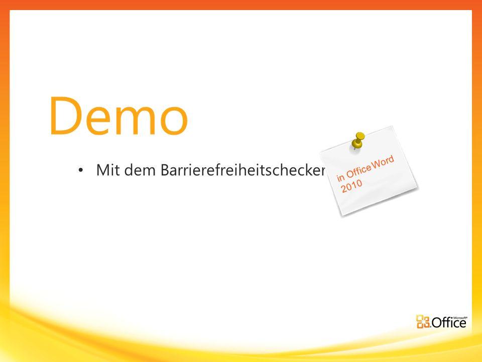 Demo Mit dem Barrierefreiheitschecker in Office Word 2010