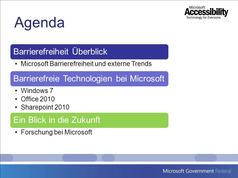 Agenda Barrierefreiheit Überblick Microsoft Barrierefreiheit und externe Trends Barrierefreie Technologien bei Microsoft Windows 7 Office 2010 Sharepo