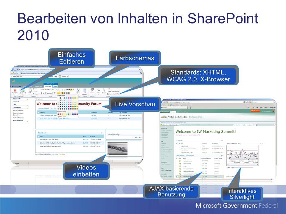 Bearbeiten von Inhalten in SharePoint 2010