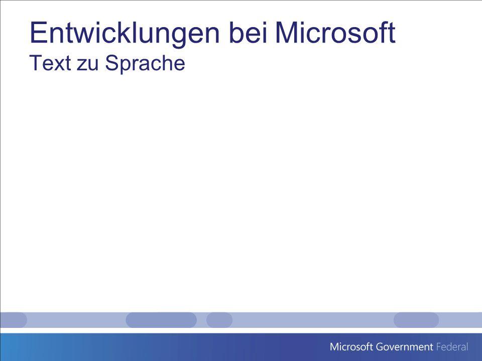 Entwicklungen bei Microsoft Text zu Sprache