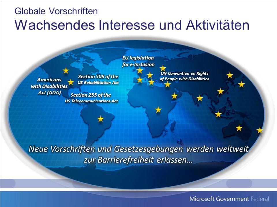 Globale Vorschriften Wachsendes Interesse und Aktivitäten