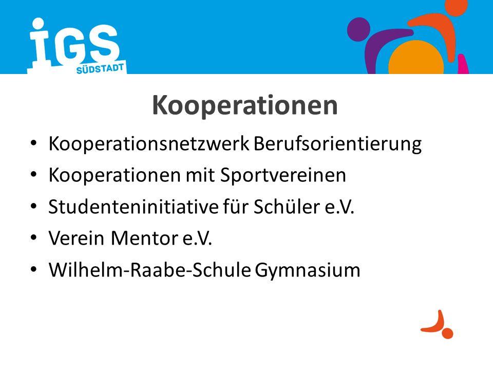 Kooperationen Kooperationsnetzwerk Berufsorientierung Kooperationen mit Sportvereinen Studenteninitiative für Schüler e.V. Verein Mentor e.V. Wilhelm-