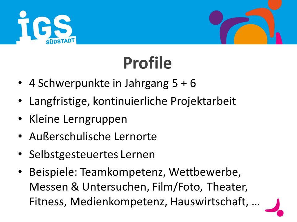 Profile 4 Schwerpunkte in Jahrgang 5 + 6 Langfristige, kontinuierliche Projektarbeit Kleine Lerngruppen Außerschulische Lernorte Selbstgesteuertes Ler