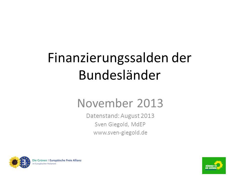 Finanzierungssalden der Bundesländer November 2013 Datenstand: August 2013 Sven Giegold, MdEP www.sven-giegold.de