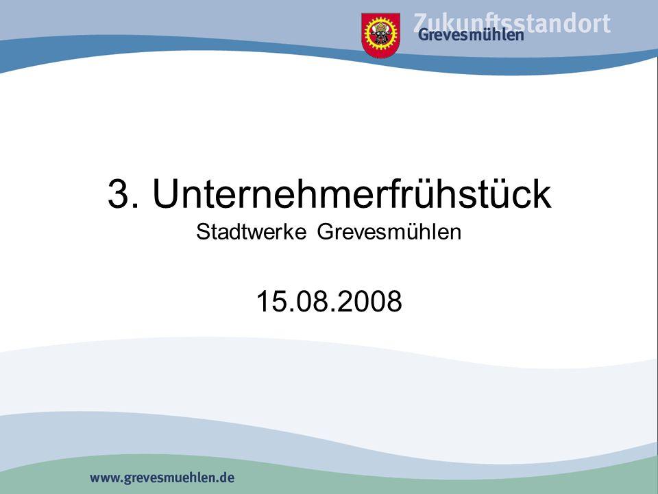 Ablauf 9:30 Eröffnung durch Bürgermeister 9:45 Herr Wilms, Stadtwerke Grevesmühlen GmbH 10:00 Herr Prahler, Energiehaus Grevesmühlen 10:20Herr Doctor, Provizial Nord, Spk.