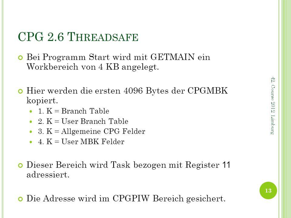 CPG 2.6 T HREADSAFE Bei Programm Start wird mit GETMAIN ein Workbereich von 4 KB angelegt. Hier werden die ersten 4096 Bytes der CPGMBK kopiert. 1. K