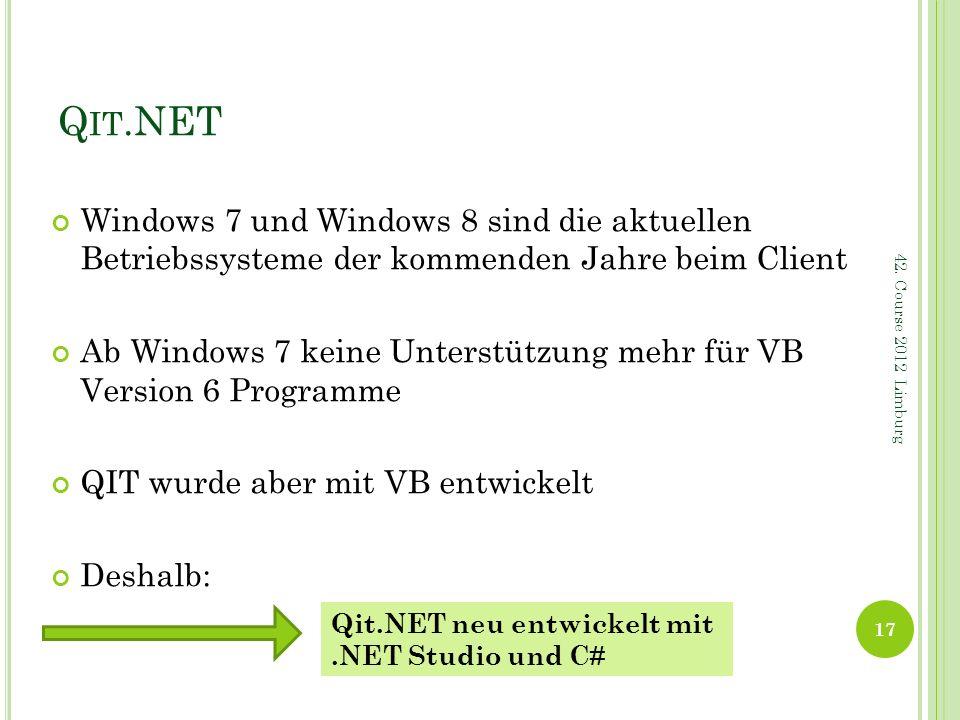Q IT.NET Windows 7 und Windows 8 sind die aktuellen Betriebssysteme der kommenden Jahre beim Client Ab Windows 7 keine Unterstützung mehr für VB Versi
