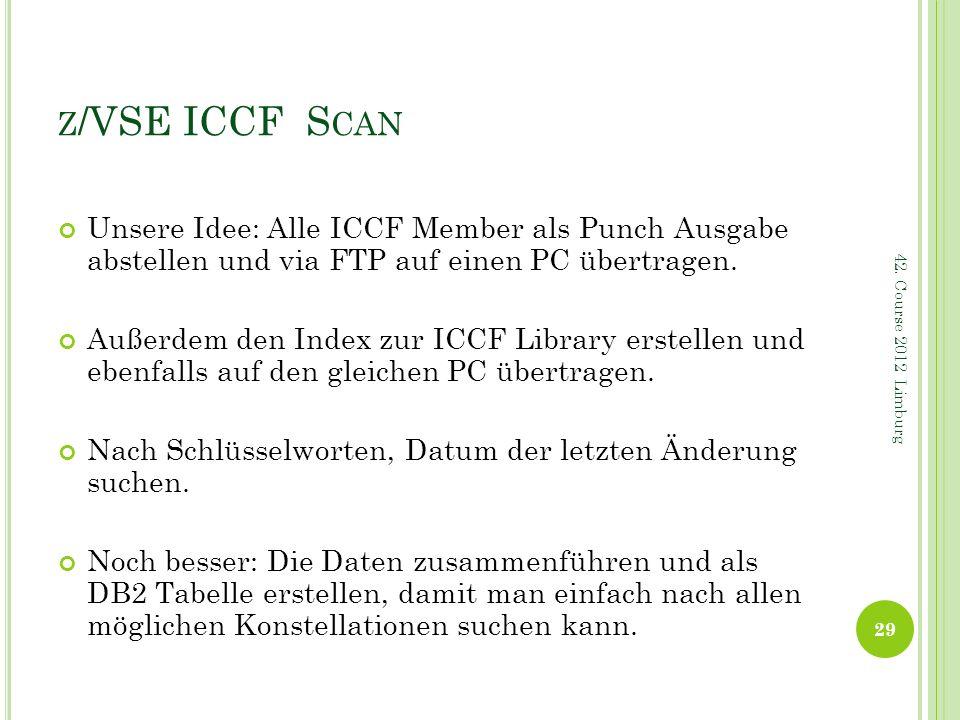 Z /VSE ICCF S CAN Unsere Idee: Alle ICCF Member als Punch Ausgabe abstellen und via FTP auf einen PC übertragen. Außerdem den Index zur ICCF Library e