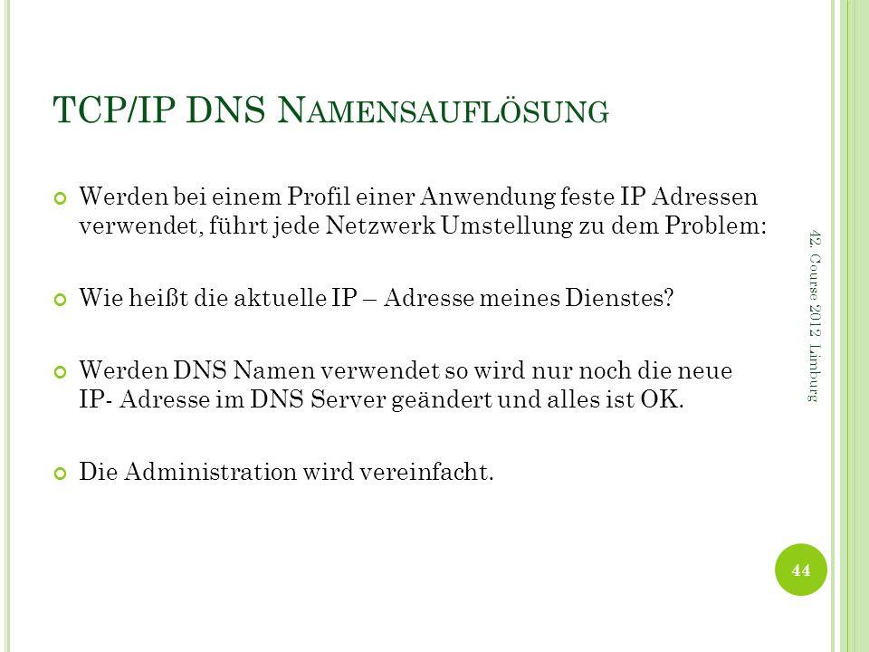 TCP/IP DNS N AMENSAUFLÖSUNG Werden bei einem Profil einer Anwendung feste IP Adressen verwendet, führt jede Netzwerk Umstellung zu dem Problem: Wie he