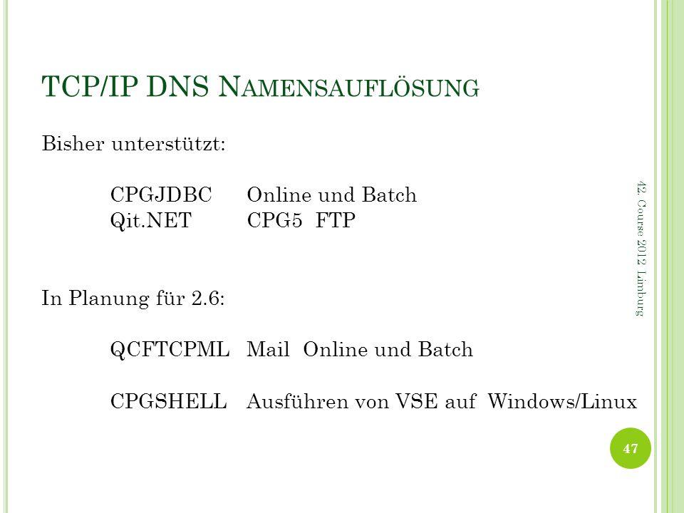 TCP/IP DNS N AMENSAUFLÖSUNG Bisher unterstützt: CPGJDBCOnline und Batch Qit.NETCPG5 FTP In Planung für 2.6: QCFTCPML Mail Online und Batch CPGSHELLAus