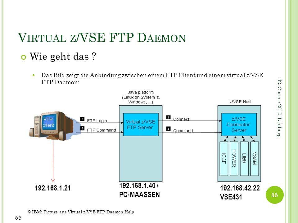 42. Course 2012 Limburg V IRTUAL Z /VSE FTP D AEMON Wie geht das ? Das Bild zeigt die Anbindung zwischen einem FTP Client und einem virtual z/VSE FTP