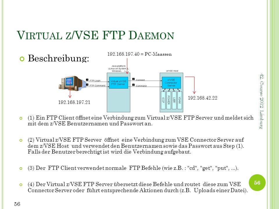 42. Course 2012 Limburg V IRTUAL Z /VSE FTP D AEMON Beschreibung: (1) Ein FTP Client öffnet eine Verbindung zum Virtual z/VSE FTP Server und meldet si