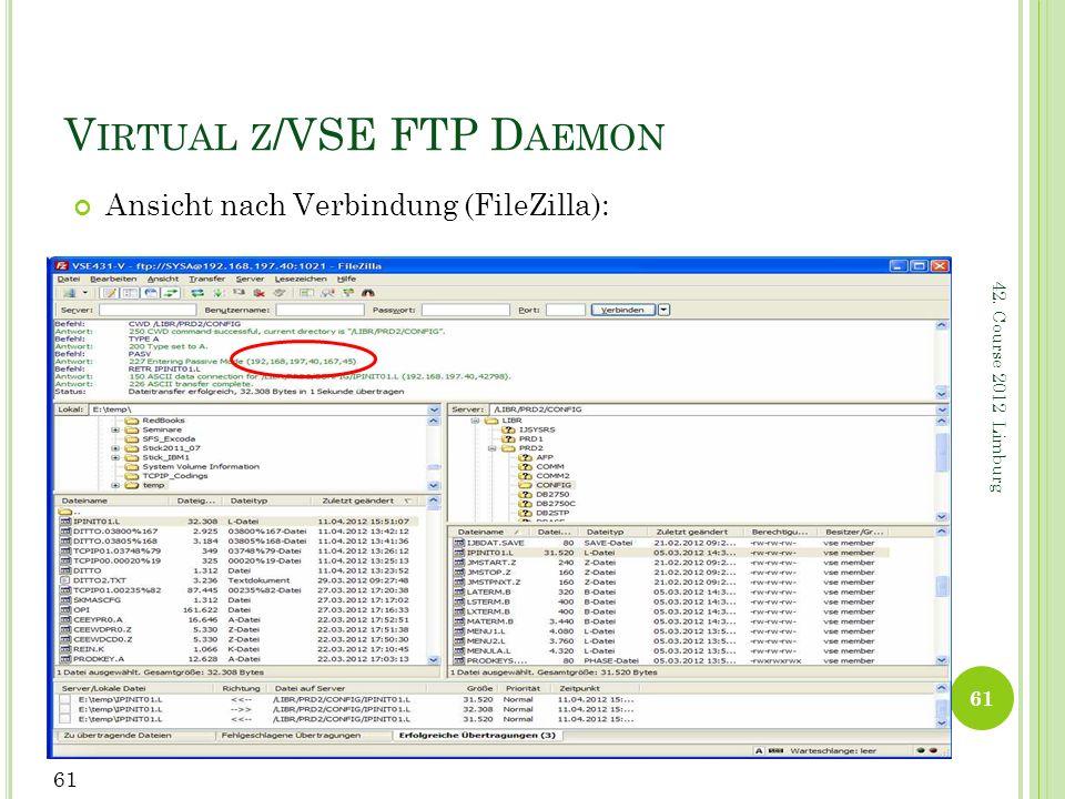 42. Course 2012 Limburg V IRTUAL Z /VSE FTP D AEMON Ansicht nach Verbindung (FileZilla): 61