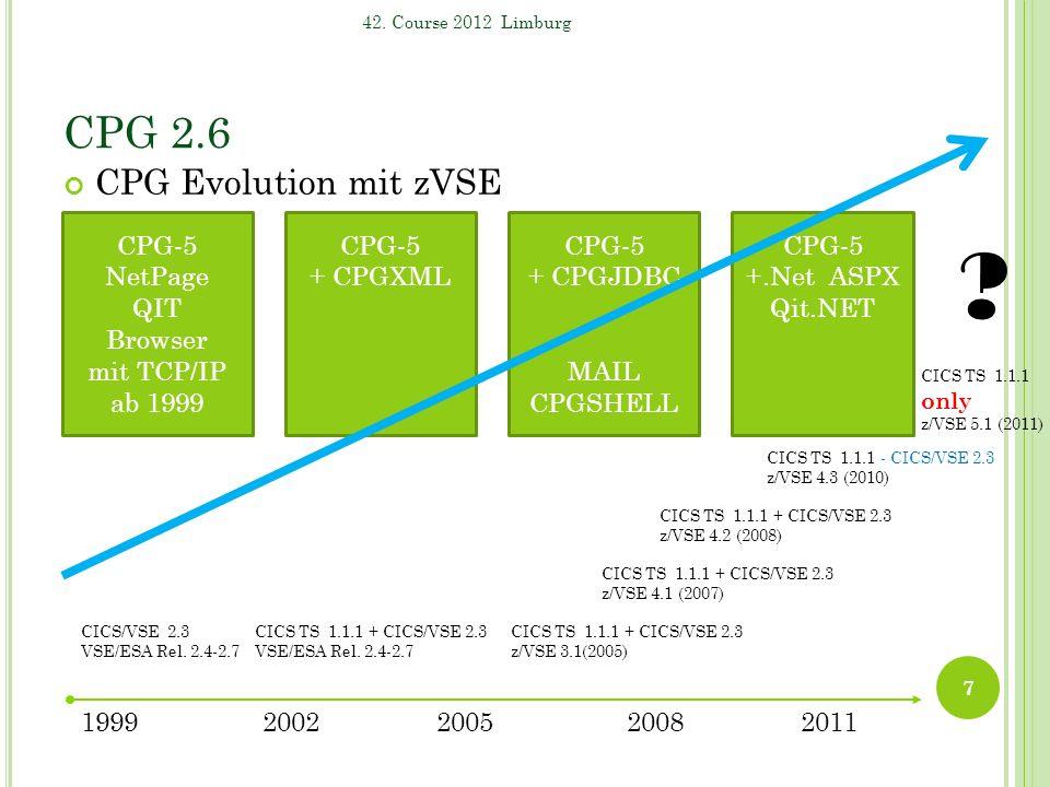 CPG 2.6 CPG Evolution mit zVSE 7 42. Course 2012 Limburg 19992002200520112008 CICS TS 1.1.1 + CICS/VSE 2.3 VSE/ESA Rel. 2.4-2.7 CICS/VSE 2.3 VSE/ESA R