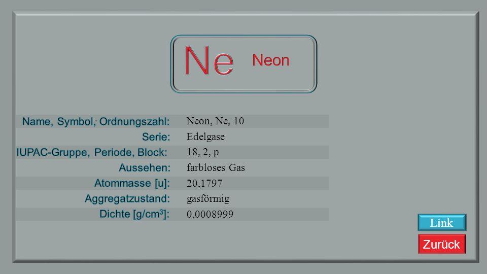 Zurück Fluor, F, 9 Halogene 17, 2, p gelbliches Gas 18,9984 gasförmig 0,0008999 Link