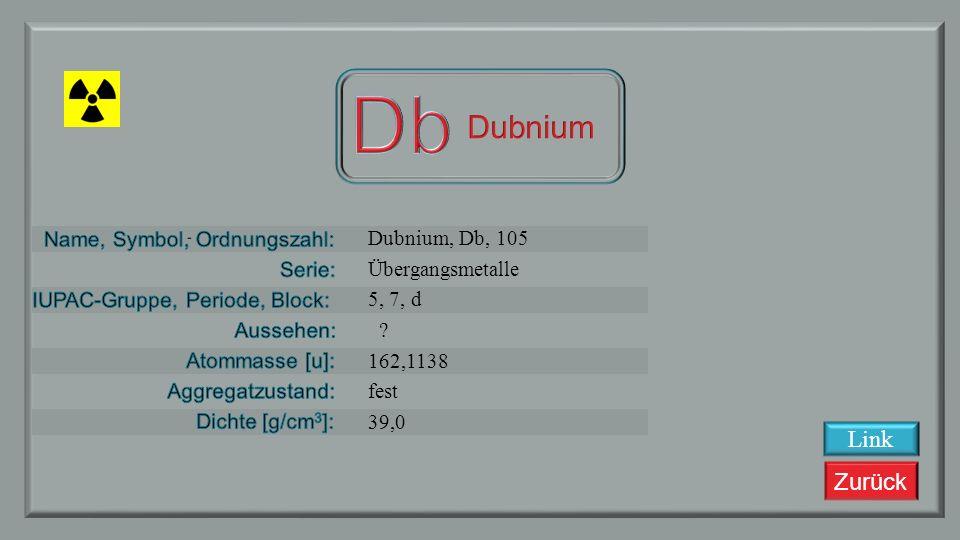 Zurück Rutherfordium, Rf, 104 Übergangsmetalle 4, 7, d ? 261,1087 fest 18,1 Link