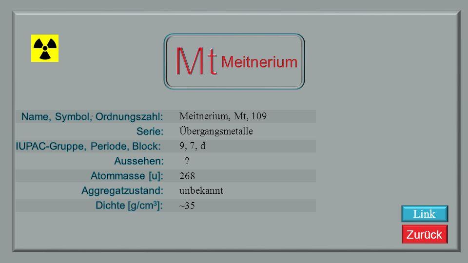Zurück Hassium, Hs, 108 Übergangsmetalle 8, 7, d ? 277 (?) Fest ~41 Link