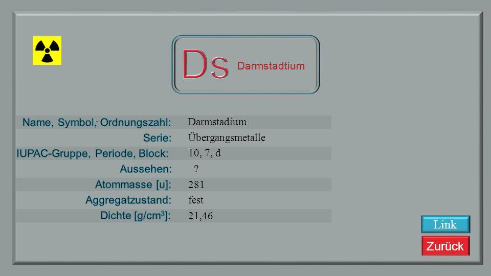 Zurück Meitnerium, Mt, 109 Übergangsmetalle 9, 7, d ? 268 unbekannt ~35 Link