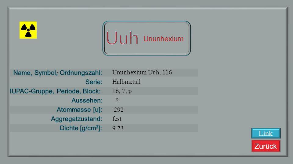 Zurück Ununpentium, Uup, 115 Halbmetall 15, 7, p ? 288 fest 9,807 Link