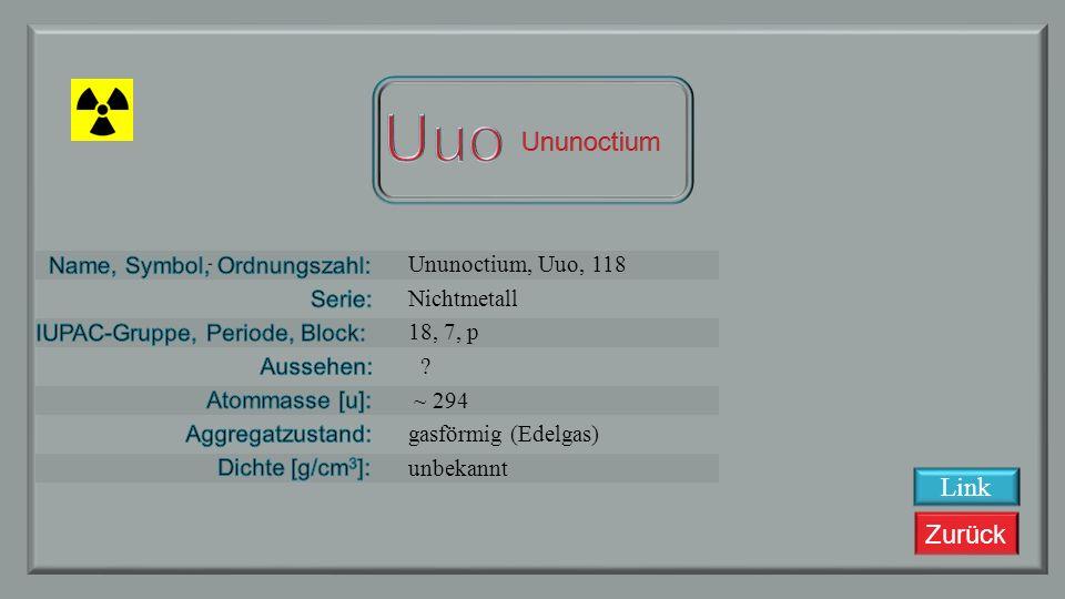 Zurück Ununseptium, Uus, 117 Nichtmetall 17, 7, p ? ~ 292 fest unbekannt Link