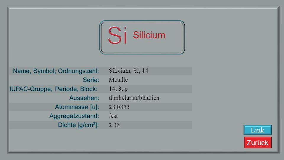 Zurück Aluminium, Al, 13 Metalle 13, 3, p silbrig 26,981538 fest 2,7 Link