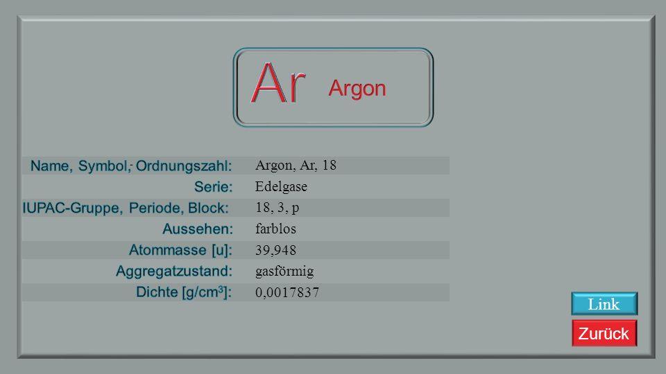 Zurück Chlor, Cl, 17 Halogene 17, 3, p gelblich, grün 34,453 gasförmig 0,003214 Link