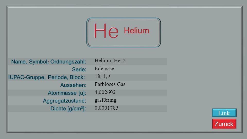 Zurück Link Wasserstoff, H, 1 Nichtmetalle 1, 1, s Farbloses Gas 1,00794 gasförmig 0,0000899