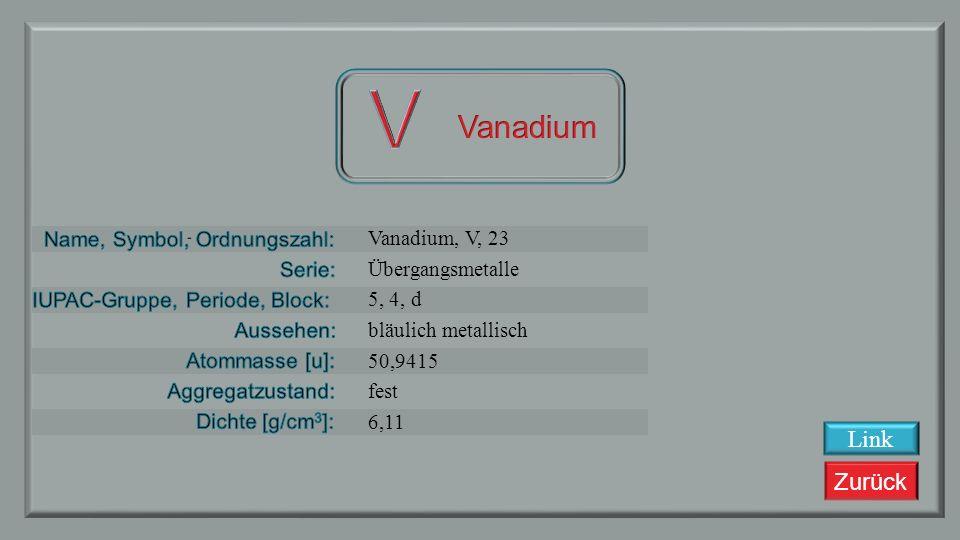 Zurück Scandium, Sc, 22 Übergangsmetalle 4, 4, d silbrig metallisch 47,867 fest 4,507 Link