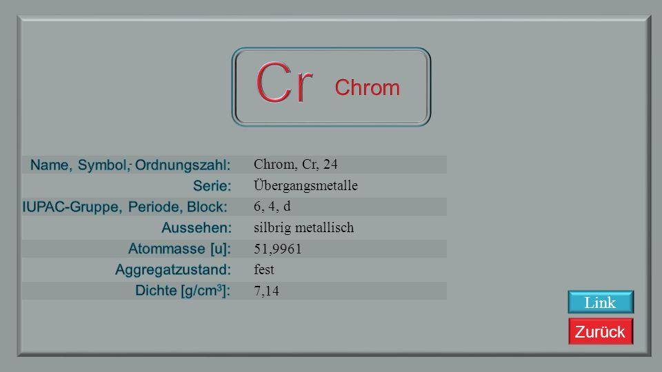 Zurück Vanadium, V, 23 Übergangsmetalle 5, 4, d bläulich metallisch 50,9415 fest 6,11 Link