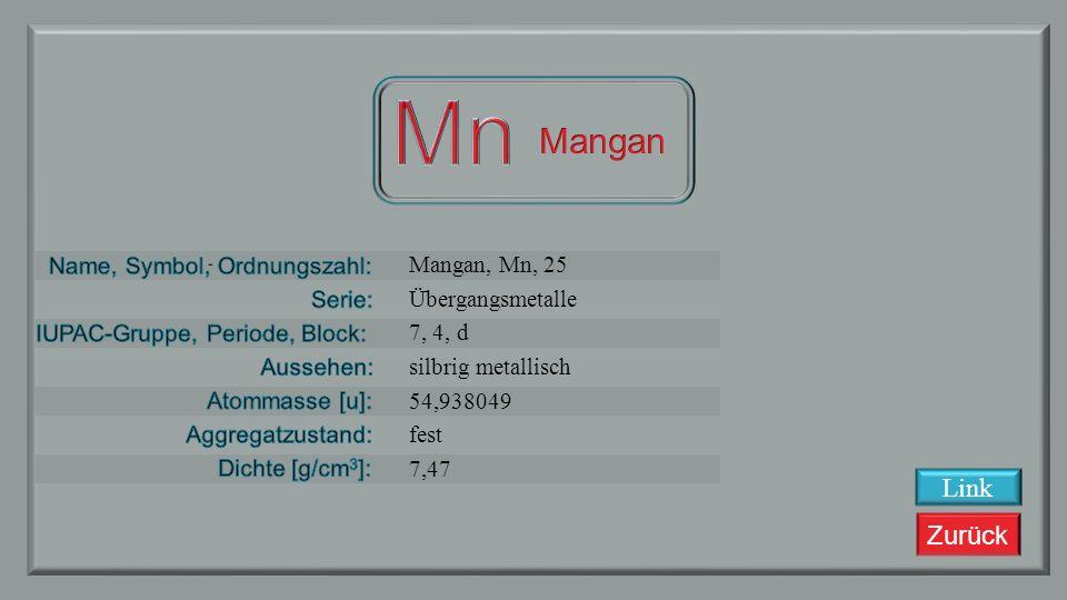 Zurück Chrom, Cr, 24 Übergangsmetalle 6, 4, d silbrig metallisch 51,9961 fest 7,14 Link