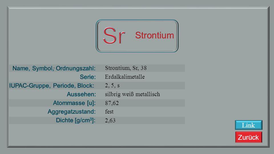 Zurück Rubidium, Ru, 37 Alkalimetalle 1, 5, s silbrig weiß 85,4678 fest 1,532 Link