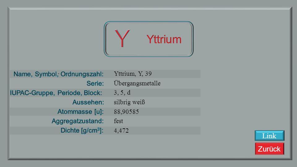 Zurück Strontium, Sr, 38 Erdalkalimetalle 2, 5, s silbrig weiß metallisch 87,62 fest 2,63 Link