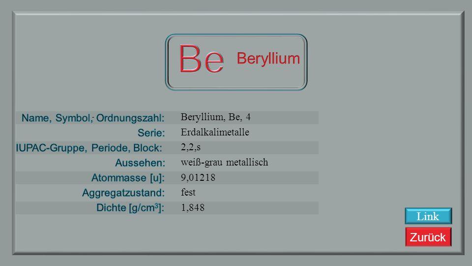 Zurück Lithium, Li, 3 Alkalimetalle 1, 2, s Silbrig/weiß-grau 6,941 fest 0,535 Link