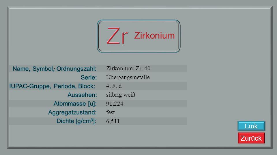 Zurück Yttrium, Y, 39 Übergangsmetalle 3, 5, d silbrig weiß 88,90585 fest 4,472 Link