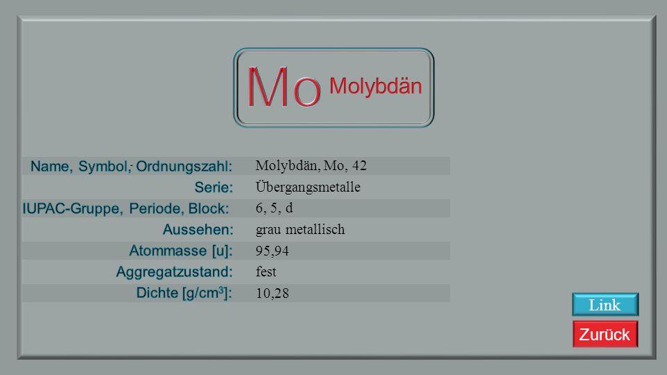 Zurück Niob, Nb, 41 Übergangsmetalle 5, 5, d grau metallisch 92,90638 fest 8,57 Link