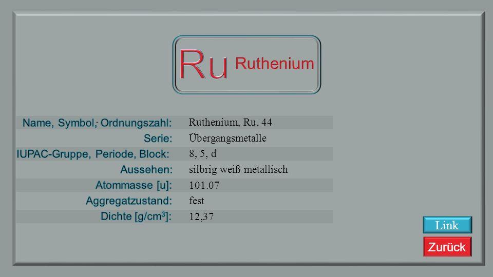 Zurück Technetium, Tc, 43 Übergangsmetalle 7, 5, d grau metallisch 98,963 fest 11,5 Link